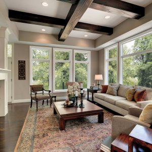 Spacious living room with large picture windows