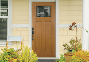 Wood Craftsman entry door with glass