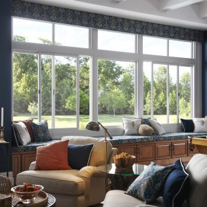 Living room with slider and picture window
