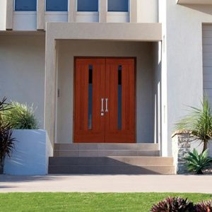 Wood double entry door